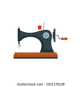 Vintage sew machine icon. Flat illustration of vintage sew machine vector icon for web design