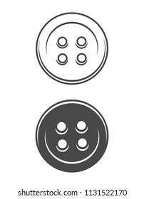 Vintage sewing buttons concept in monochrome style isolated vector illustration