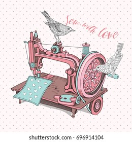 Vintage sewing machine with a birds. Vector illustration.