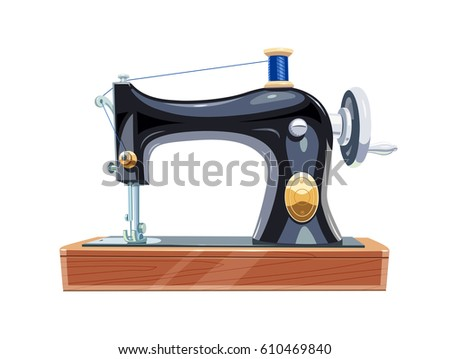 Vintage Sewing Machine Blue Spool Thread Stock Vector Royalty Free Simple Vogue Stitch Sewing Machine Manual