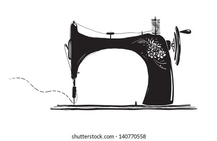 Vintage Sewing Machine Inky Illustration. Black ink old sewing machine vector illustration. EPS8.
