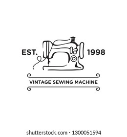 vintage sewing machine logo and icon