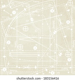Vintage sewing pattern inspired vector background 3
