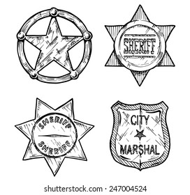 Vintage sheriff and marshal badges set stylized as engraving.
