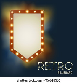 Vintage shining retro light banner with bright bulbs. Realistic lights with transparent glow. Vector illustration.
