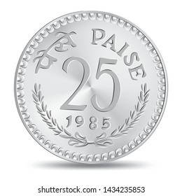 """Vintage shiny indian twenty five paise coin in vector illustration. Translation: """"Paise"""""""