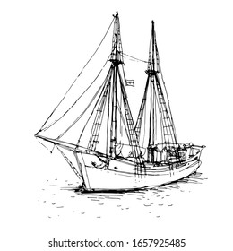 Vintage ship, boat in the sea. Hand drawn line art sketch. Black and white doodle vector illustration, design for coloring book page
