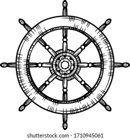 vintage ship control wheel line drawing vector eps10