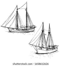 Vintage ship, sailboats set. Hand drawn line art sketch. Black and white doodle vector illustration, design for coloring book page