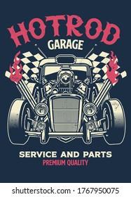 vintage shirt design of hotrod custom car