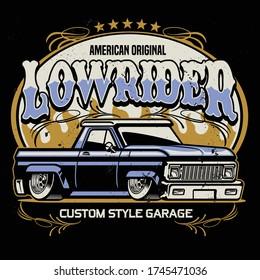 vintage shirt design of lowrider pickup truck