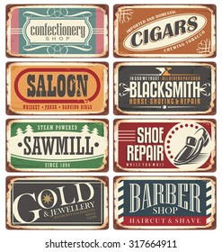 Vintage shop posters collection. Retro store tin signs design on rusty background.