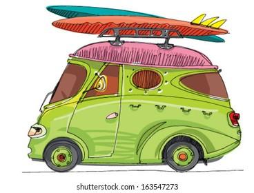 vintage shuttle bus - cartoon