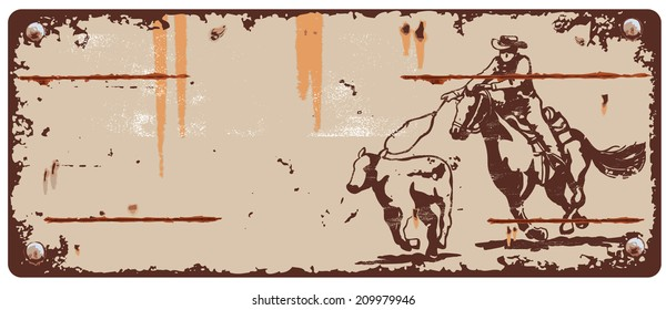 Vintage Sign Rodeo Cowboy Roping a Calf