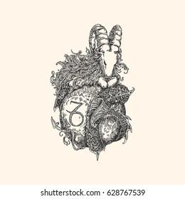 Vintage sign of zodiac. Capricorn. Vector illustration.