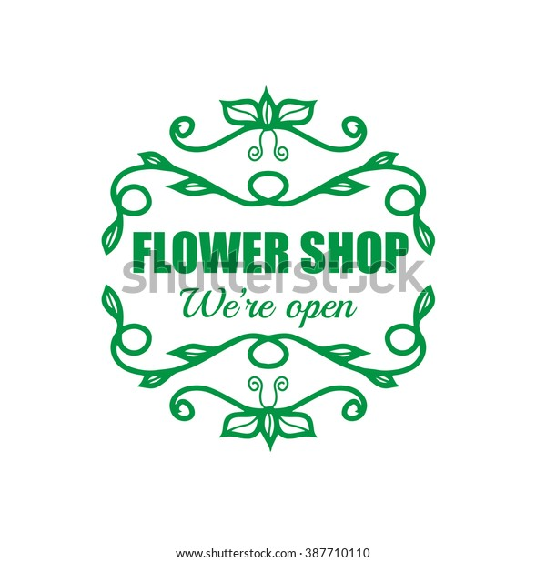 Vintage signage for flower shop. Vector logotype on white background.