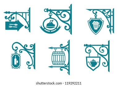 Vintage signs of pubs, taverns and restaurants isolated on white. Jpeg version also available in gallery