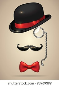 Vintage silhouette of bowler, mustaches, monocle and a bow tie - vector illustration. Shadow and background are on separate layers. Easy editing.
