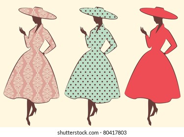 Vintage silhouette of girls. Vector