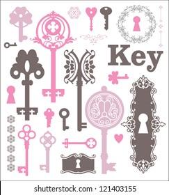 Vintage silhouette of keys and keyholes. Old style illustration. Vintage design.