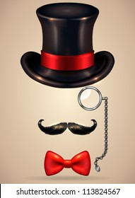 Vintage silhouette of top hat, mustaches, monocle and a bow tie - vector illustration. Shadow and background are on separate layers. Easy editing.