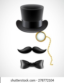 Vintage silhouette of top hat, mustaches, monocle and a bow tie. Vector illustration. EPS 10