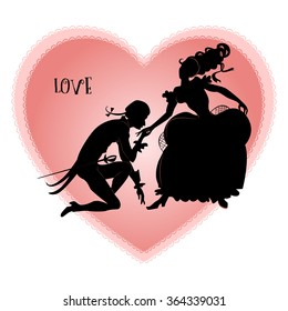 Vintage silhouettes of loving knight and lady on a background of pink hearts