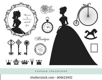 Vintage silhouettes set. Princesses, old keys, crowns, stamps.