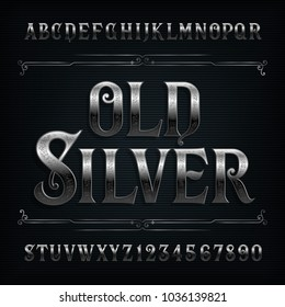Vintage silver alphabet font. Old metal effect letters and numbers. Stock vector typeface for your design.