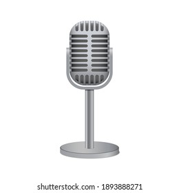 Vintage silver microphone isolated on white background, vector illustration