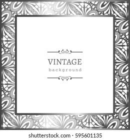 Vintage silver photo frame with ornamental border, vector greeting card or invitation design