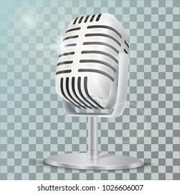 Vintage silver studio microphone. 3D realisic vector illustration jn transparent background.