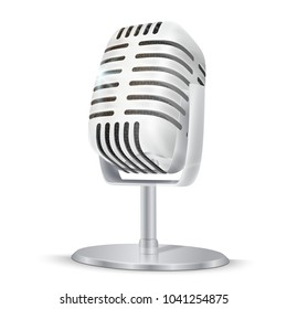 Vintage silver studio microphone. 3D realisic vector illustration on white  background.
