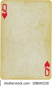 vintage simple background : playing card - queen of hearts