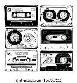 Vintage six different Audio Cassettes. Poster, card, t-shirt composition, hand drawn style print. Vector black and white illustration.