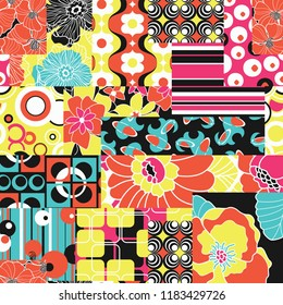 Vintage sixties hippy fabric patchwork abstract vector seamless pattern