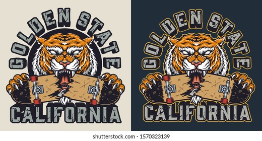 Vintage skateboarding colorful print with inscriptions and ferocious tiger holding broken skateboard isolated vector illustration