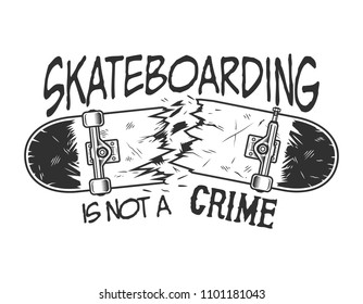 Vintage skateboarding logotype with inscriptions and broken skate board isolated vector illustration