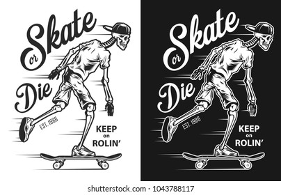 Vintage skateboarding poster with skeleton. Vector colour illustration