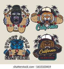 Vintage skateboarding prints with angry gorilla in beanie hat and sunglasses aggressive tiger and bear in baseball caps ferocious black panther skateboards isolated vector illustration