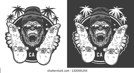 Vintage skateboarding summer logotype with ferocious gorilla in beanie hat and sunglasses holding skate boards isolated vector illustration