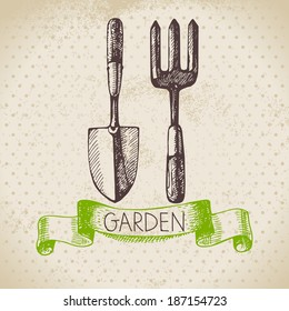 Vintage sketch gardening background. Hand drawn design