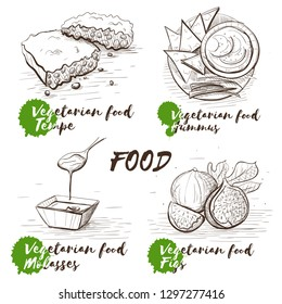 Vintage sketch illustration with monochrome vegetarian dish on white background. Design template. Vector black and white illustration. Homemade vegetarian food. Tempe, molasses, figs and hummus.