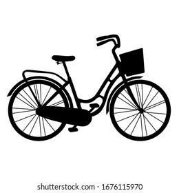 Vintage sketch illustration with silhouette city bike girl basket. Hand drawn. doodle vector. Hand realistic drawing. Concept business vector illustration. Healthy lifestyle concept. Romantic design.