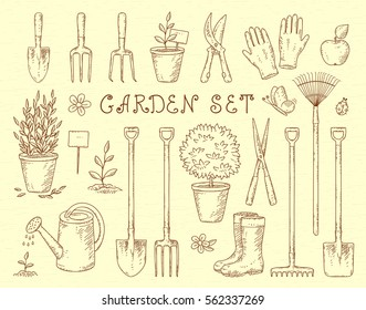 vintage sketch set of hand drawn gardening tools silhouettes