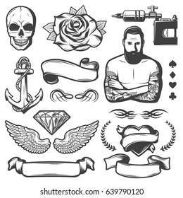 Vintage sketch tattoo studio elements set with master ribbons skull rose anchor wings diamond heart machine isolated vector illustration