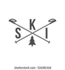 Vintage ski and arctic expeditions logotype, badge, emblem and design elements. Winter sports. Retro logo design.