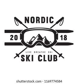 Vintage ski or winter sports logo, badge, emblem, design element. Vector illustration. Monochrome Graphic Art. Concept for shirt, print, seal or stamp.