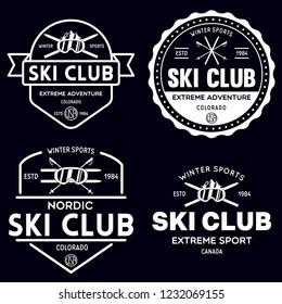 Vintage ski or winter sports logos, badges, emblems, design elements. Vector illustration. Monochrome Graphic Art. Concept for shirt, print, seal or stamp.
