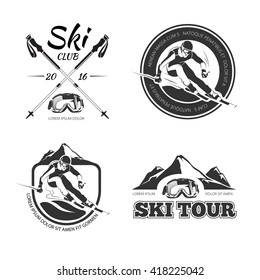 Vintage skiing and winter sports emblems, labels, badges, logos set. Ski club logotype, extreme, speed race tour. Vector illustration